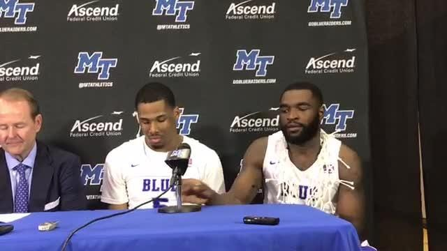 MTSU's Nick King and Giddy Potts on the crowd at Murphy Center for their game against Western Kentucky on March 1, 2018.