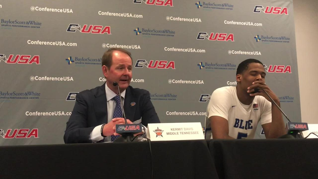 MTSU coach Kermit Davis on his team's 71-68 overtime loss to Southern Miss in the Conference USA quarterfinals at the Ford Center in Frisco, Texas.