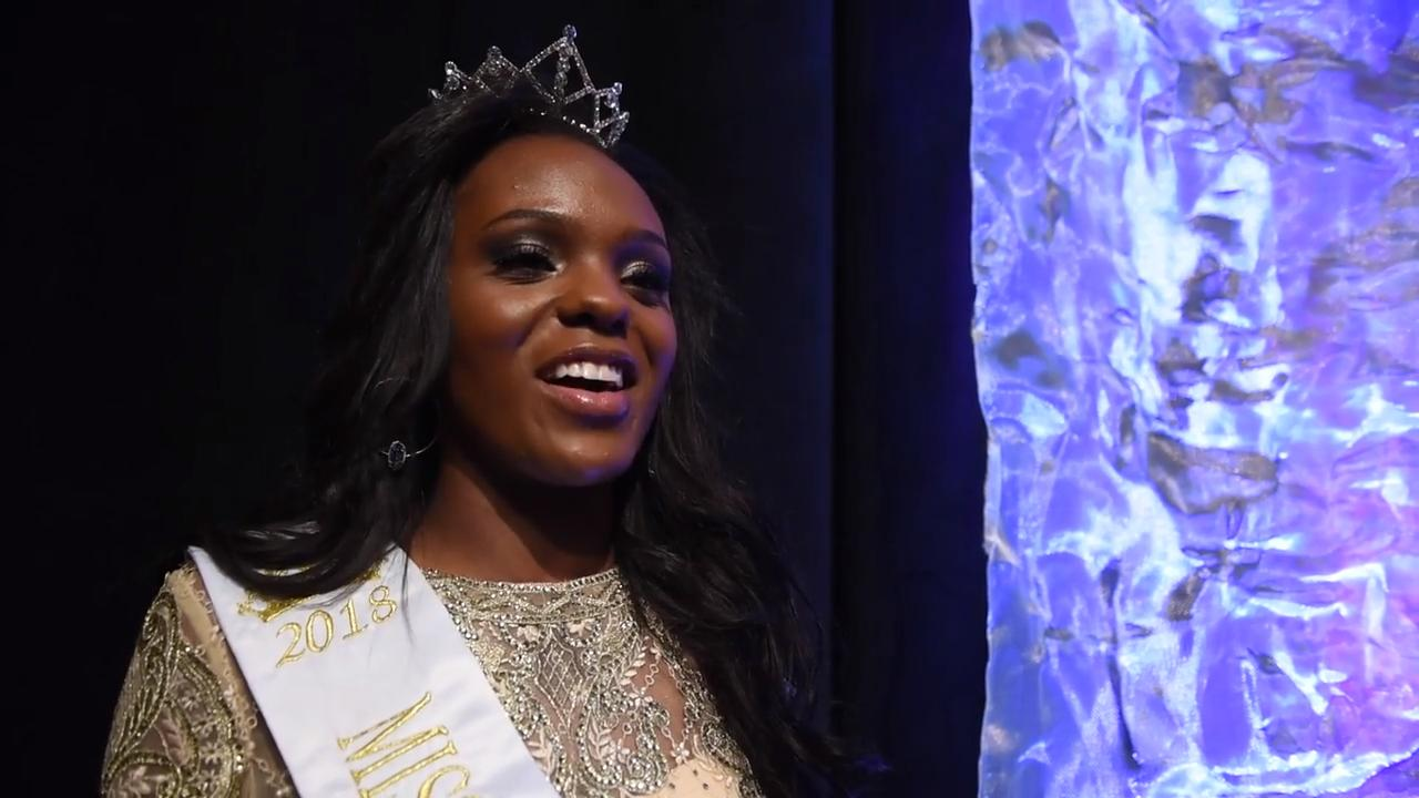 Miss Soybean Festival Princess Nadia Treadwell reflects on being crowned Miss Iris Tennessee Teen on March 9, 2018, at the Carl Perkins Civic Center in Jackson.