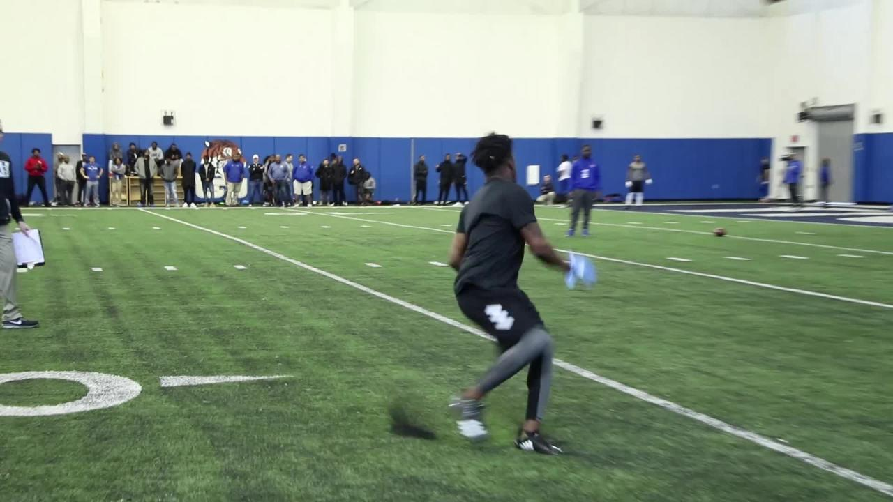 MTSU wide receiver Richie James adjusts for a catch during the Blue Raiders' pro day at Tennessee State on March 12, 2018.