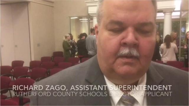 Richard Zago speaks about his philosophy of education after competing to be the next Rutherford County Schools director. Zago serves as assistant superintendent for curriculum and instruction for the district. and is a former principal at Stewarts Creek Elementary and Smyrna Elementary.