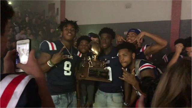 Oakland High School held a celebration Monday morning, following Thursday's BlueCross Bowl win over Whitehaven.