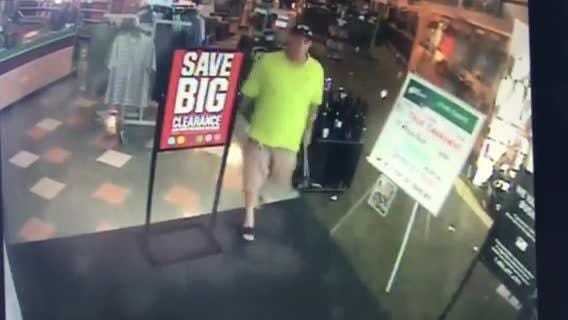 Security camera video of man accused of stealing golf clubs