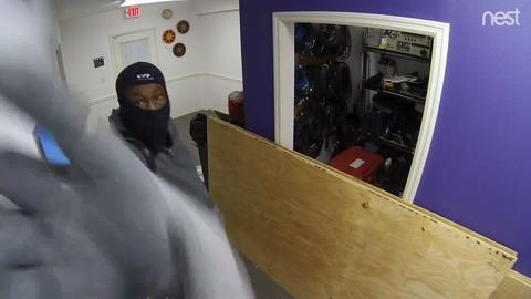 Security camera footage of a break-in at The Naples Studio
