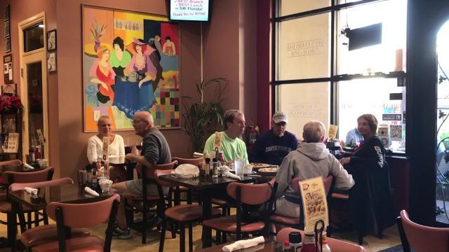 Enjoy banana stuffed French toast at EJ's Bayfront Cafe.