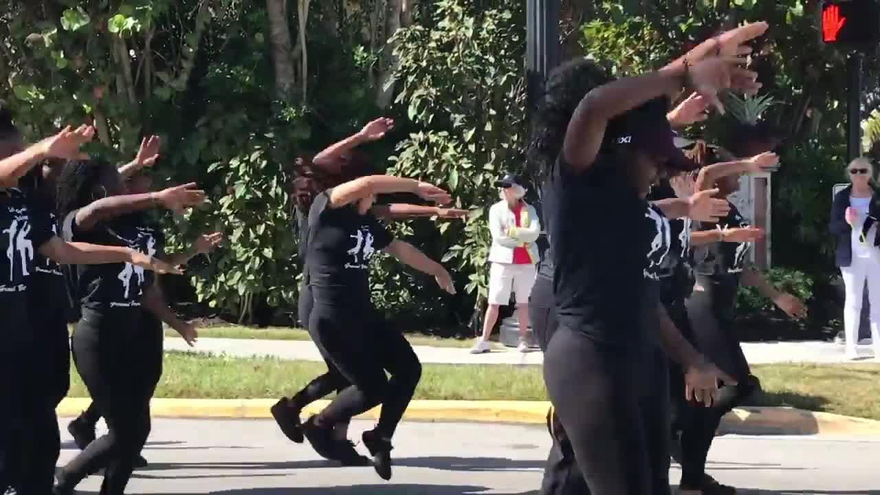 The Golden Gate High School step team performs in the Martin Luther King Jr. parade Monday, Jan. 15, 2018, in downtown Naples.