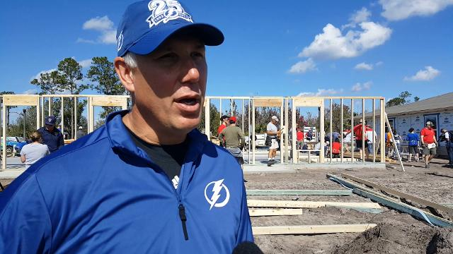 Dave Andreychuk, captain on the Tampa Bay Lightning's 2004 Stanley Cup winner and now vice president of community relations, brought volunteers to work with Habitat for Humanity in Immokalee on Tuesday, Jan. 16, 2018, along with the Florida Panthers.
