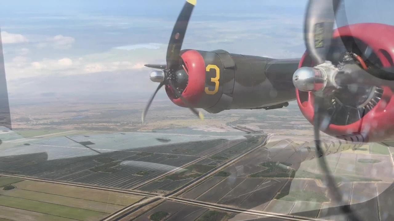 Ernie Kunz, 92, was an Army Air Force pilot serving during World War II. On Feb. 1, 2018, he flew once again in the same Consolidated B-24 Liberator he once piloted.