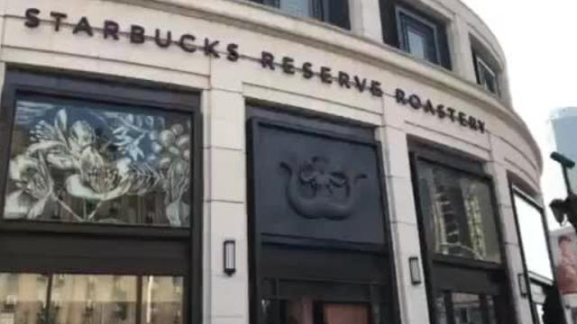 """The largest and most lavish Starbucks in the world opened in November 2017 in Shanghai, China. Starbucks Reserve Roastery is the first non-U.S. location of a new series of shops designed to offer a more """"immersive"""" experience for coffee lovers, according to Starbucks. Barbara Sellars Saylor, a U.S. citizen, shot this video Wednesday, Feb. 14, 2018 to offer a glimpse into this nearly 30,000-square-foot high-tech Starbucks."""