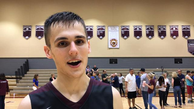 First Baptist Academy guard Preston Urbancic talks about his 27-point performance that helped the Lions win their first district title since 2015.
