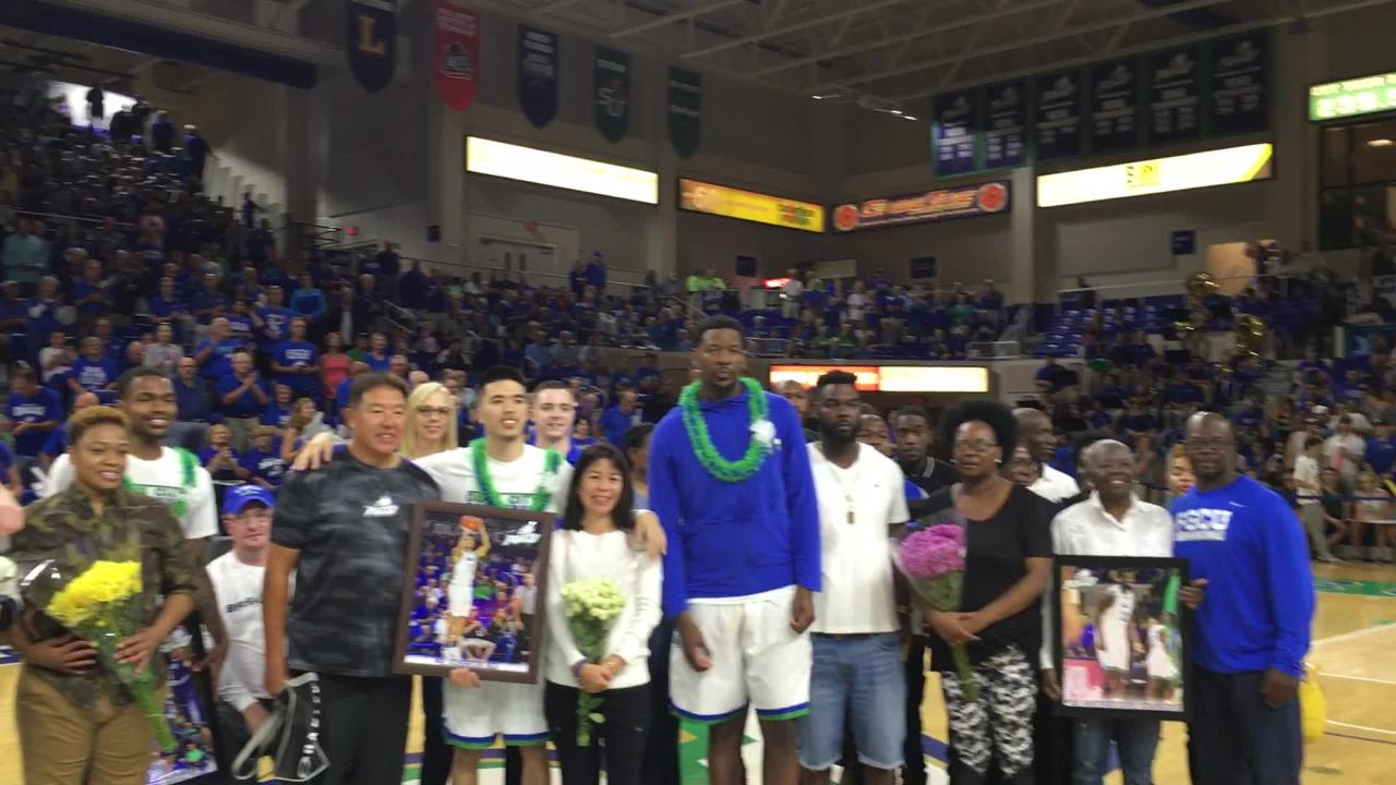 FGCU's Brandon Goodwin, Antravious Simmons, Christian Terrell and Joshua Ko were honored before Saturday night's home game against Lipscomb. (Video by Dana Caldwell/Naples Daily News)
