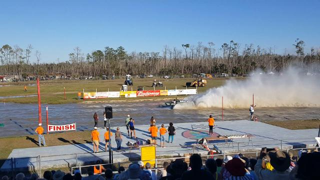Pro-modified driver Brian Langford wins the Big Feature in his return to swamp buggy racing following a 10-year layoff. Langford won at Florida Sports Park on March 3, 2018.