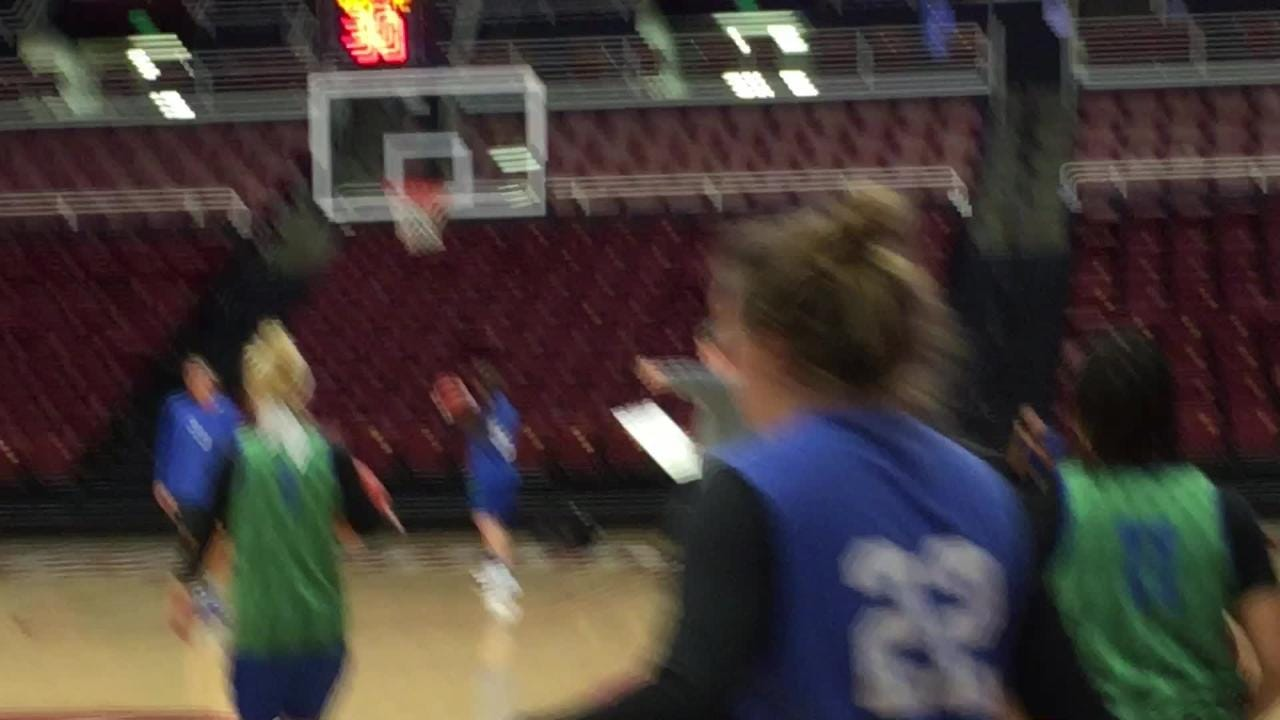 The Eagles got their first Maples Pavilion practice in on Friday. They play Missouri at Stanford at 3:30 Saturday afternoon in an NCAA tournament first-rounder.