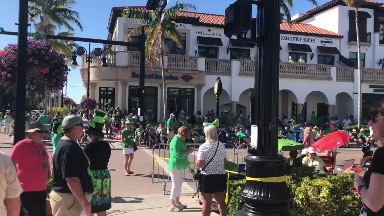 Scene from Fifth Avenue South and Eighth Street before the start of the Naples St. Patrick's Day parade.