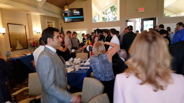 Eleven finalists, one from each Collier County high school team, for the National Football Foundation scholarship enter a banquet honoring them at The Restaurant at Quail Village Golf Club On Monday, April 16, 2018.