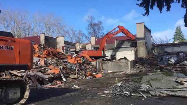 The old art building at Olympic College was demolished on Feb. 2, 2018. Arts programs have moved into the new College Instruction Center, which opened in January.