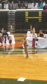 Khloe Page competes at a twirling tournament