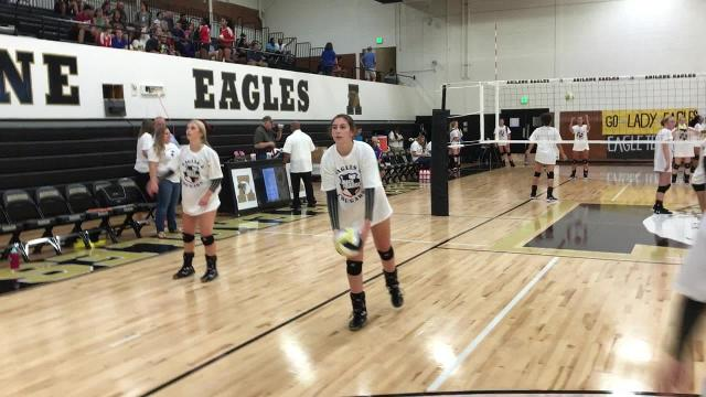 Volleyball warmups in APD T-shirts