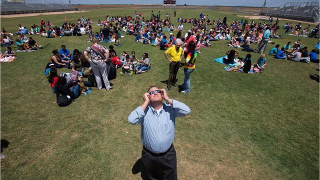Corpus Christi area students watch the Solar Eclipse