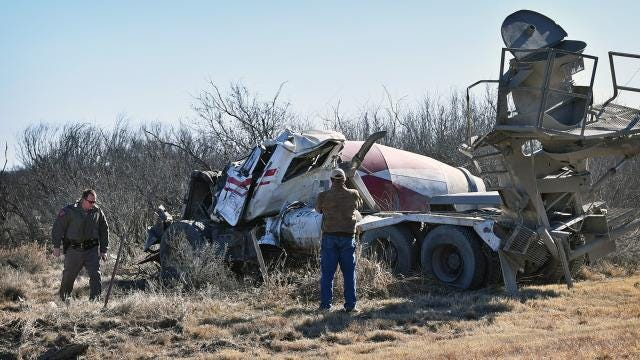 One person was injured Monday morning when the cement truck he was driving South on Highway 25 left the roadway and rolled over.