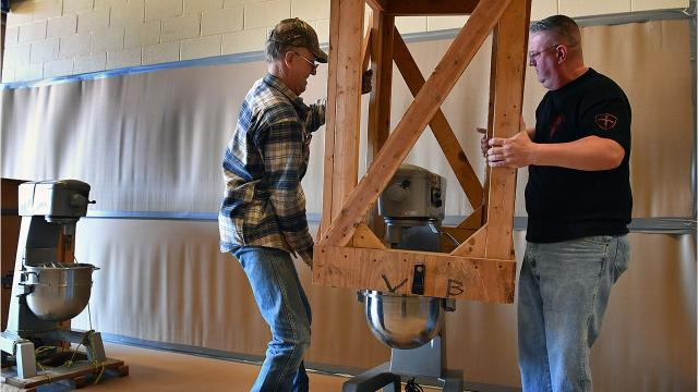 Preparations are underway at the Bridwell Ag Center for Saturday's Kiwanis Pancake Festival.