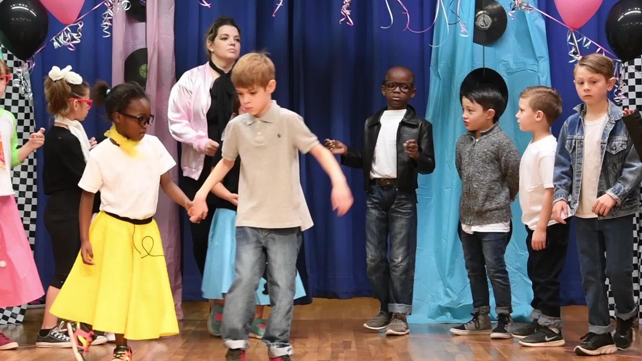 Teachers and students at Austin Elementary School held their annual Fifties Day Jan. 26, 2018. Everyone dressed in outfits reminiscent of the era and the students danced for their families in the school cafeteria.