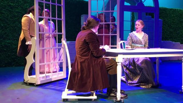 "The cast rehearses a scene from ""Sense and Sensibility,"" a Winter Romance production at Abilene Christian University."