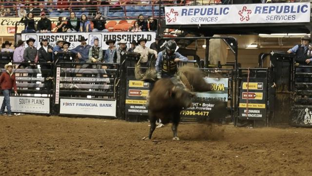 Sage Steele Kimzey had the best bull ride of the San Angelo Rodeo so far.