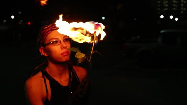 Del Mar College student Viktoria Birr is a fire breather who can spin fire and wield it without getting burned. She even uses a flaming hula hoop in her performances.