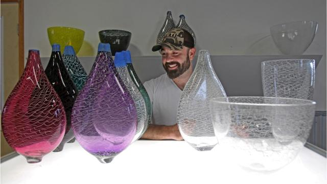Glass blowing artist Bad Pearce returns to Rockport for a show titled Full Circle.