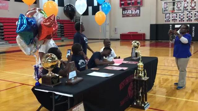 West Oso boys basketball Creighton Avery signed with McLennan Community College.