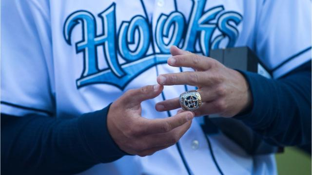 The Commissioner's Trophy for winning the World Series was at Whataburger Field on Monday, and it was also the same night Hooks employees received their World Series rings.