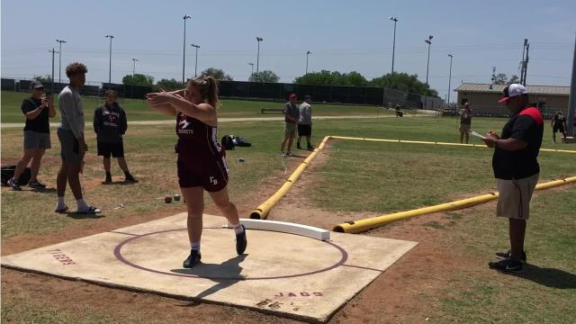 Flour Bluff's Emily Habib eased to a win in the girls shot put at Thursday's District 29-5A/30-5A area track meet in Floresville.