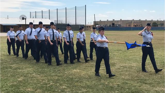 As a final ceremony for the 2017-18 school year, the cadets of the Cooper High School Air Force Junior ROTC staged a military-style parade