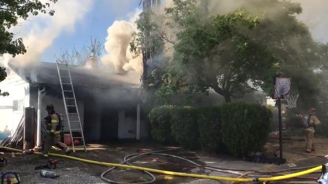 Two-alarm house fire in north Redding