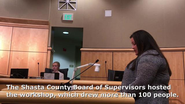 Dusty Steele, honorary mayor of Cottonwood, addresses the Shasta County Board of Supervisors on Wednesday during a public safety workshop.