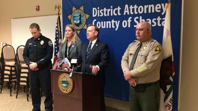 Shasta County District Attorney Stephanie Bridgett announces Thursday the Project Safe Neighborhoods project. Also shown are Redding police Capt. Bill Schueller, McGregor Scott of the U.S. Attorney's Office and Shasta County Sheriff Tom Bosenko.