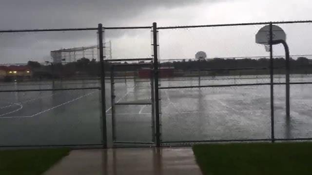 Raw video: Storms force football practice inside