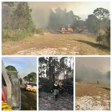 The 5-acre wildfire  was in a 45-acre wooded area near the Peacock Run Apartments Jan. 14, 2018.