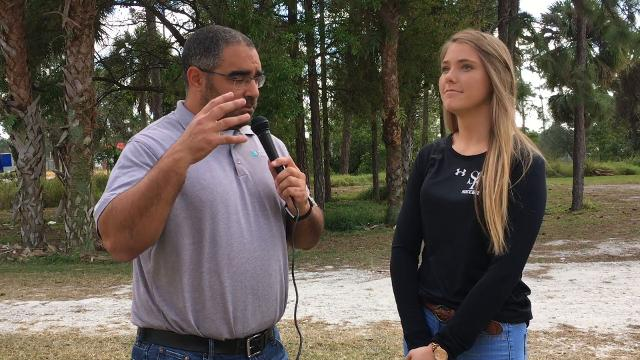 Sports reporter Jon Santucci speaks with South Fork High School soccer player Kaylee Magruder Thursday, Feb. 1, 2018, about her plans after high school at South Fork High School in Tropical Farms.