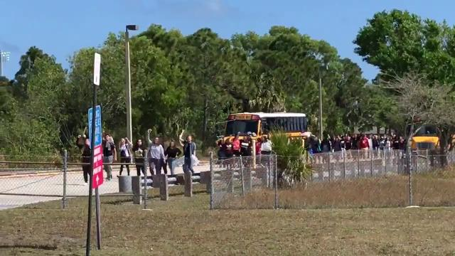 "Port St. Lucie High School students yell ""Douglas strong"" and ""Not one more"" Feb. 21, 2018."