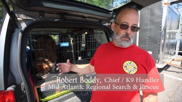 Non-profit organization search and rescue team \u0022Mid Atlantic Regional Search & Rescue\u0022 demonstrate a search w/ K9. (2017)