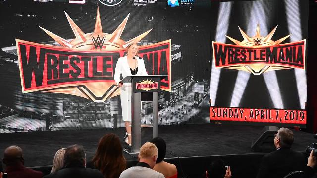 Professional wrestler Ronda Rousey speaks at a press conference in East Rutherford, NJ., where officials announced Wrestlemania will be returning to Metlife Stadium in April 2019.