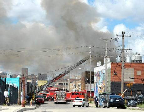 Large warehouse fire in Eastern Market