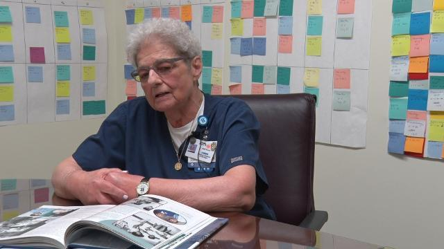 Mary Renkiewicz, a nurse at Children's Hospital, talks about her experiences as a Hamtramck resident working in Detroit in 1967. Tanks blocked outsiders from entering Hamtramck, and she had to show a civil defense card to get in and out of Detroit.