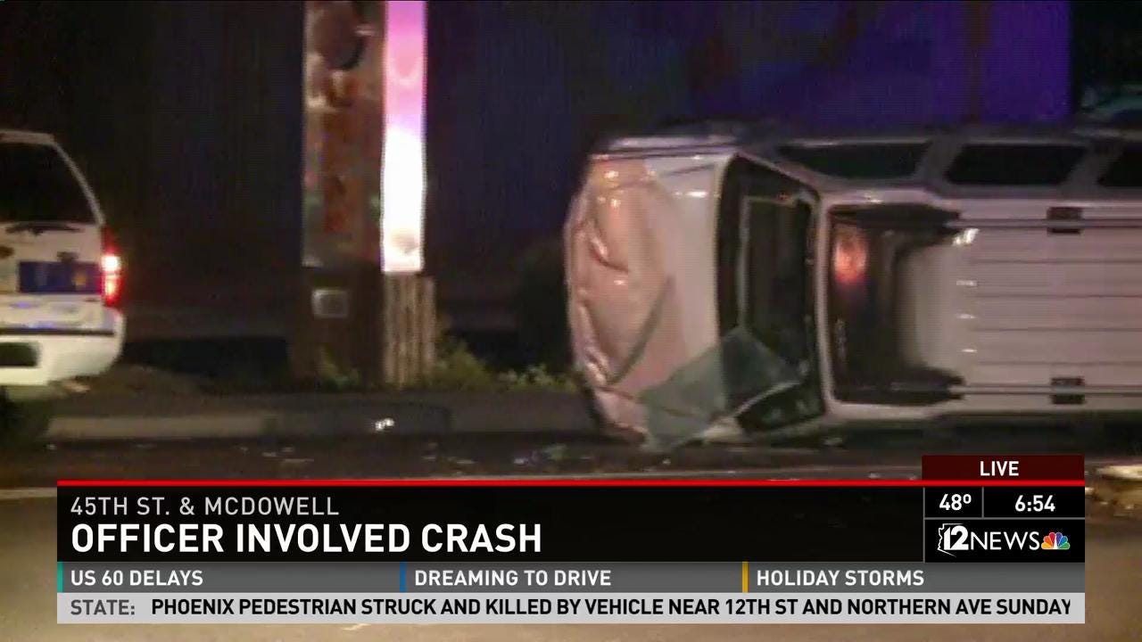 Crash involving Phoenix officer closes McDowell from 44th St to SR143