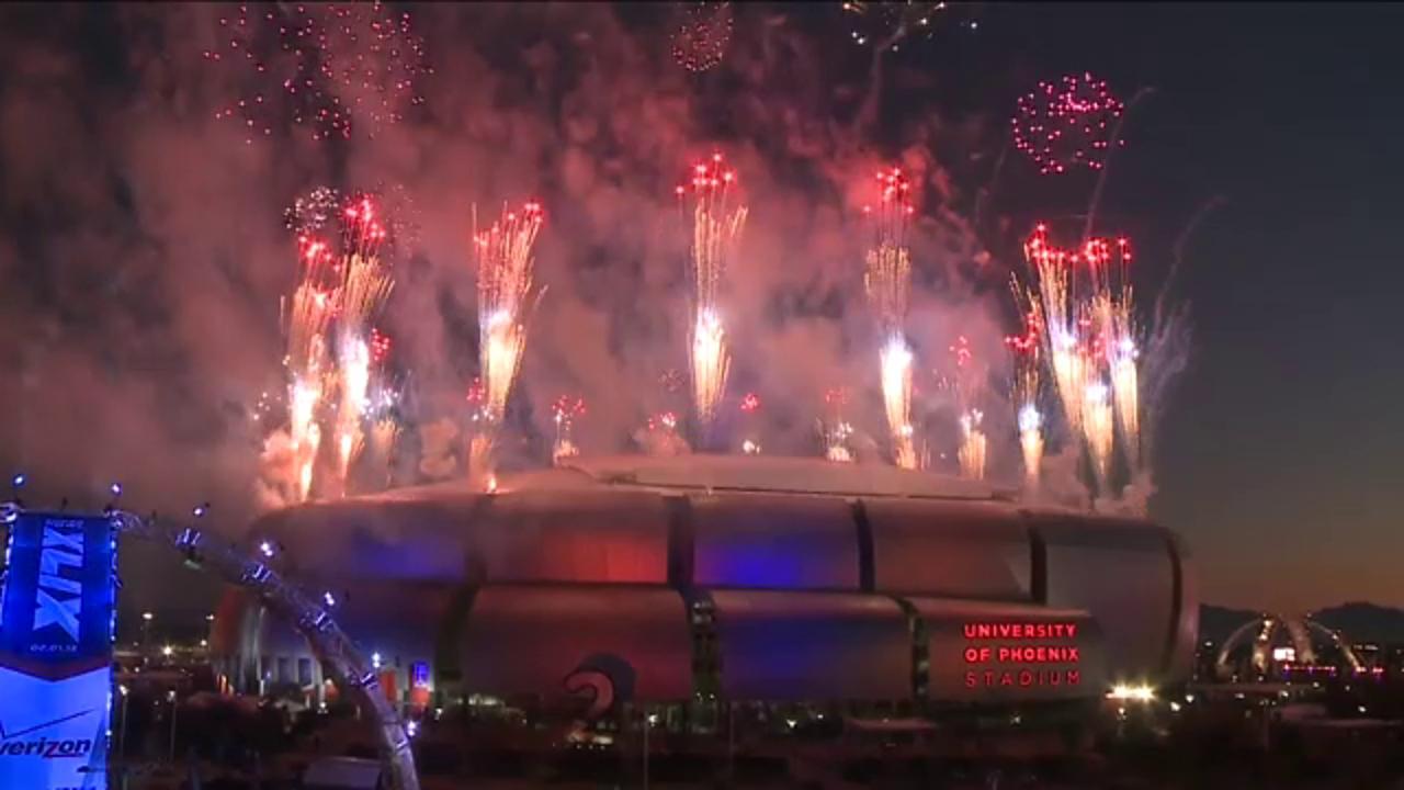 Raw Video: Halftime fireworks outside Super Bowl XLIX