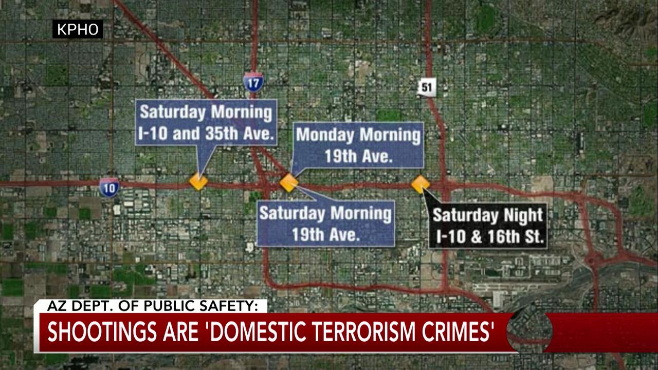 Map Of Arizona Freeway Shootings.Suspected Phoenix I 10 Shooter Serves 10m Claim Against Arizona Ducey