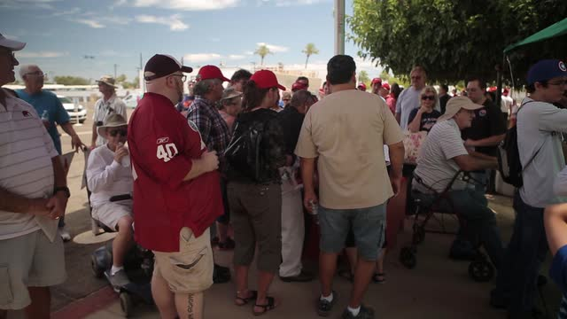 Trump supporters wait in line for rally