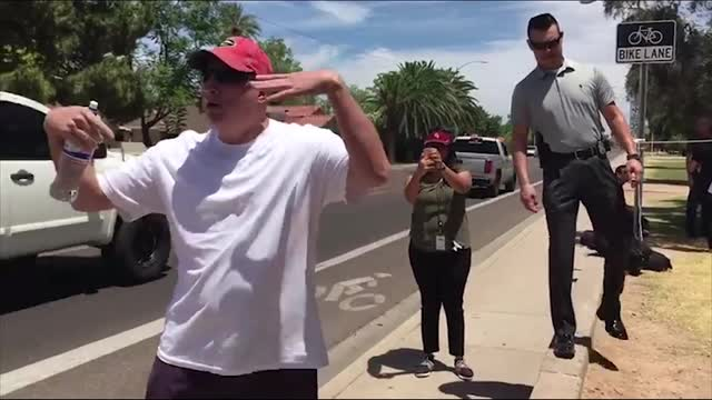 Trump supporter confronts donkey